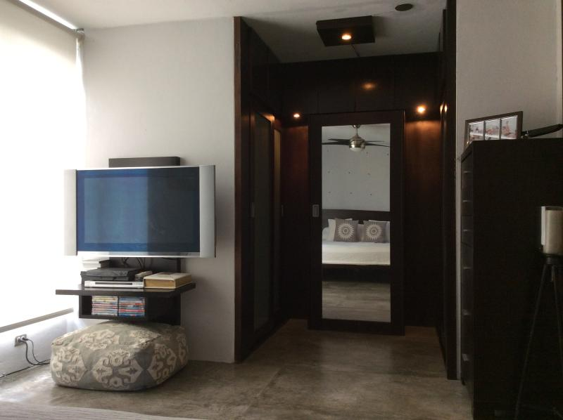 Entertainment center in Master Bed with wood closet