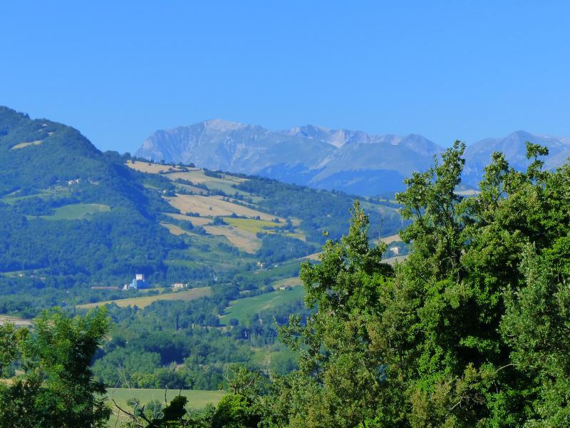 Views through the gardens to the Sibillini mountains