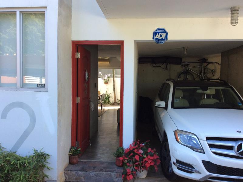 Entrance of townhome with private parking