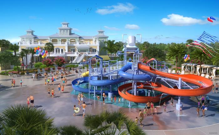 Clubhouse featuring huge resort pool, spa, water park with twisting slides!
