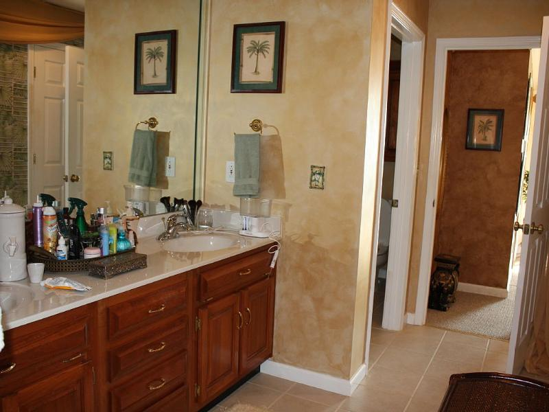 Master bathroom has 2 sinks, separate shower and water closet.