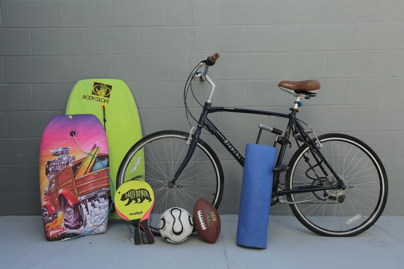 Free bikes, boogey boards, yoga mat to use