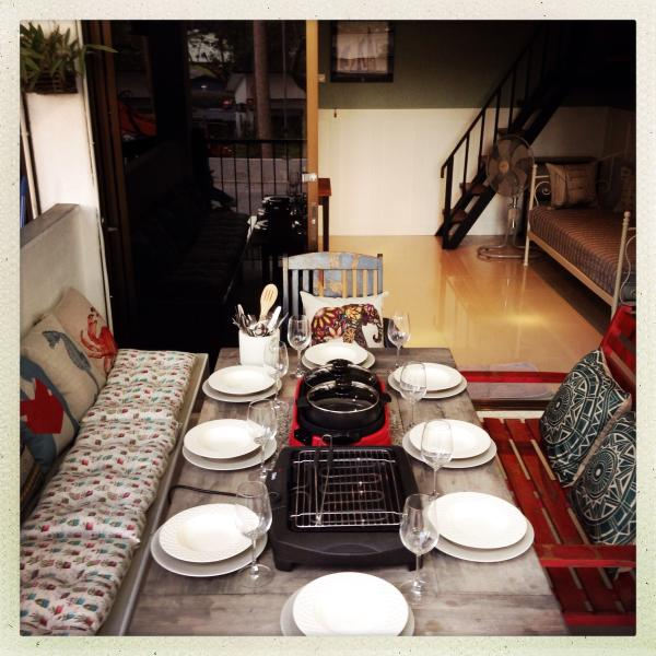 Dining and table cooking with electric bbq and hotplate.