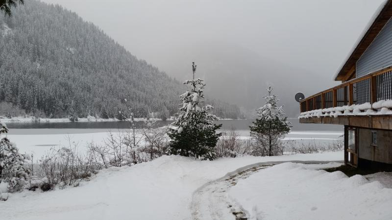 Winter Mystery on Three Valley Lake.  Bring your snowmobiles right to front of the house!