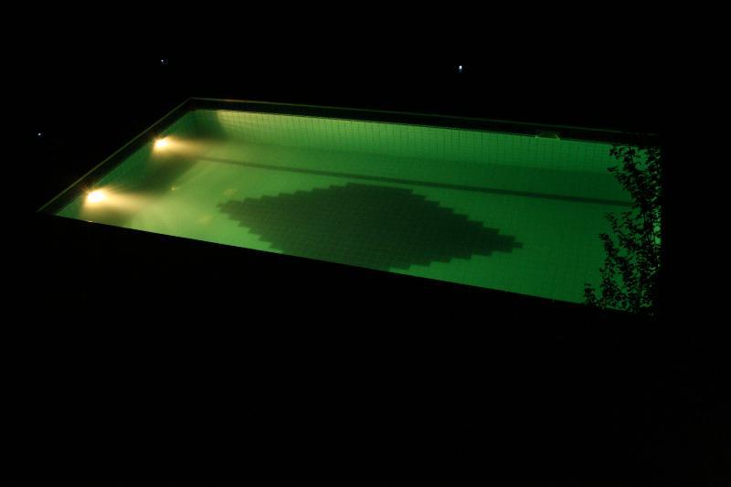 The pool illuminated at night