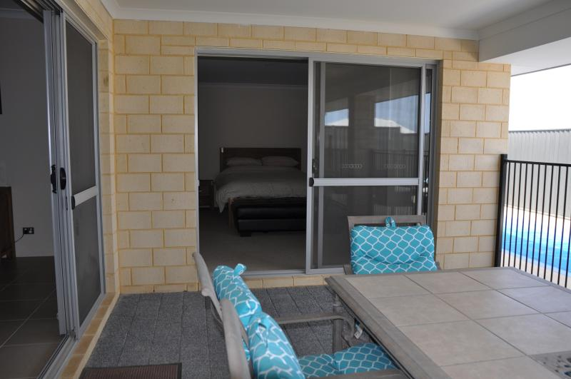 Master bedroom opens out to the undercover area