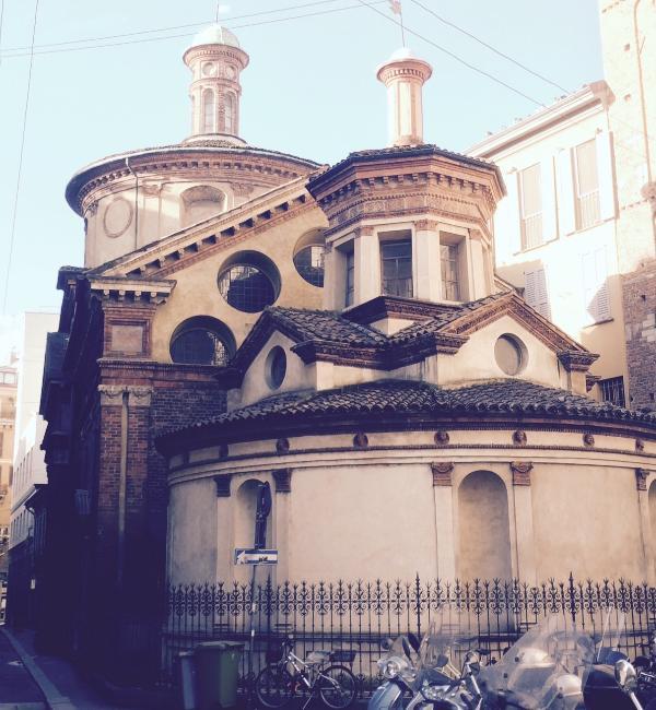 at 50 mtrs, San Satiro church with its tricks