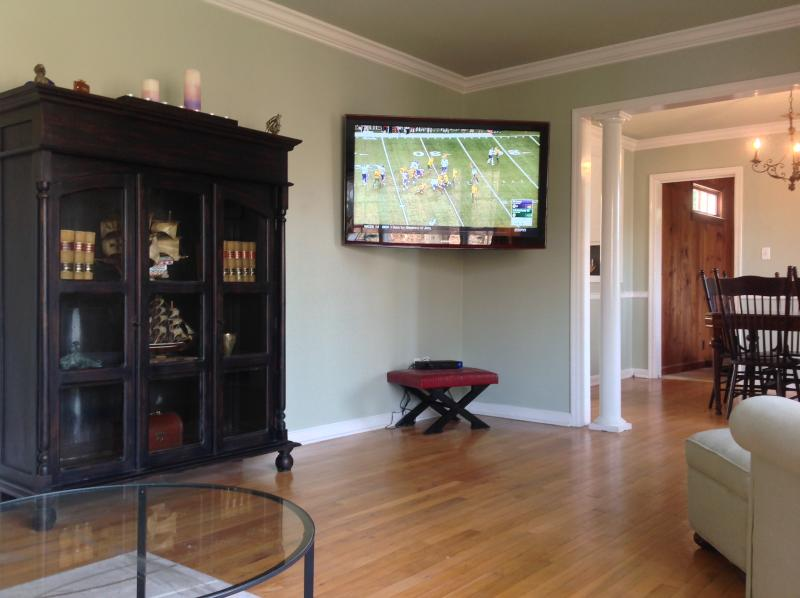 View from the Herman Miller L shaped couch looking at the wall mounted 52' flat screen TV.