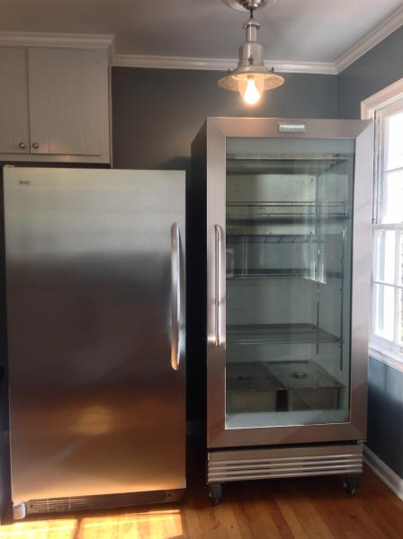 Frigidaire commercial grade stainless steel/glass refrigerator and separate stainless steel freezer