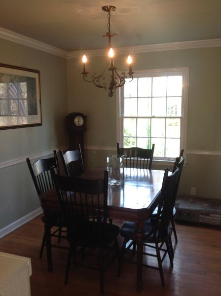 Dining room with comfortable seating for six.