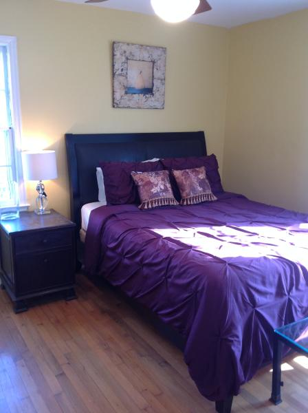 3rd bedroom with neo tradtional style and new 1,000 count sheets, duvet, and pillows.
