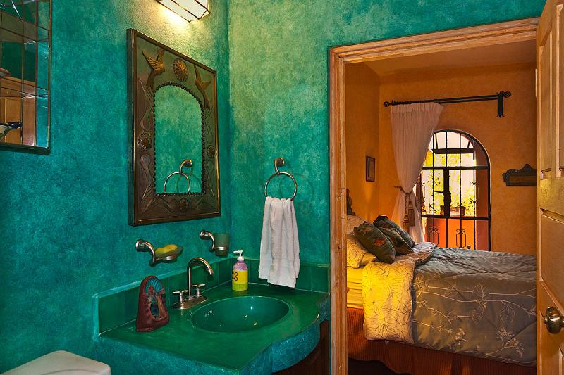 Green bath adjoined bedroom