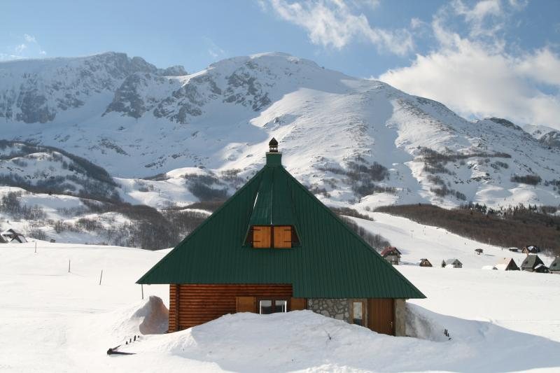 Chalet only 20 metres from main road & accessible in winter - ski runs behind