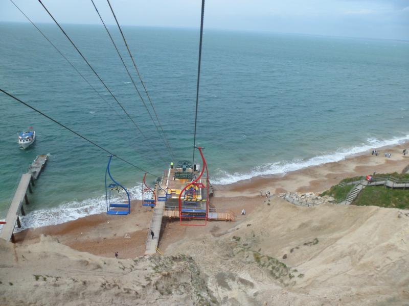 The chair lift down to the beach. Don't worry there are stairs if you don't have a head for heights!