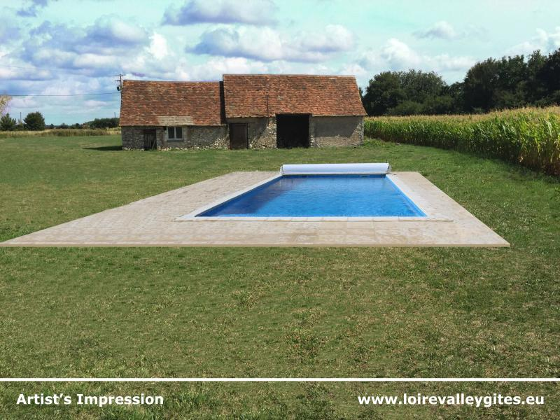 New for 2016 - fully heated 9m x 4m pool with 1m tanning step