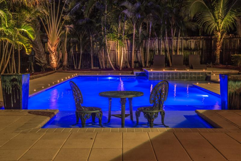 A relaxation corner by the pool