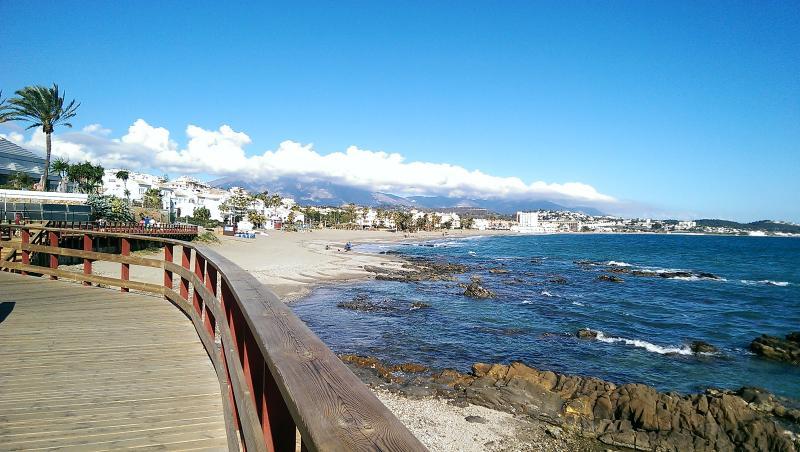 Boardwalk with approaching La Cala