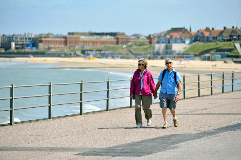 Walking along the prom towards Westgate (Royal Seabathing in the background) - credit Thanet Tourism