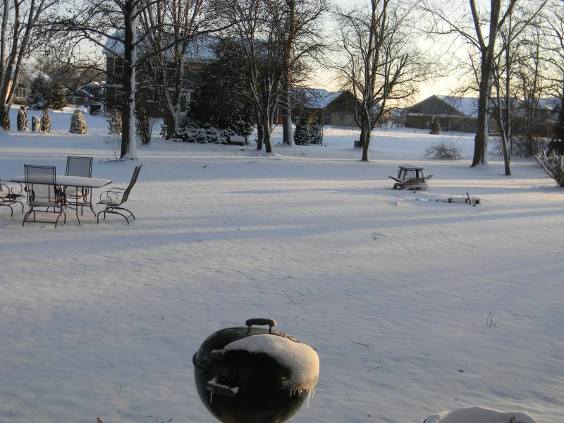 Backyard on a Snowy January Day. Fire pit and Outdoor Fireplace.