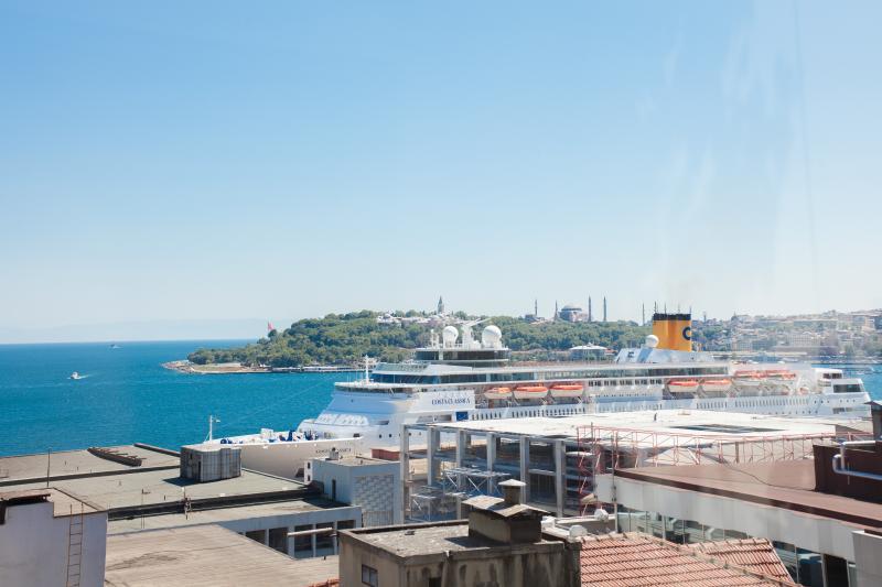Salon Lounge vue (vieille ville Istanbul, Palais de Topkapi, la mosquée bleue, corne d'or)