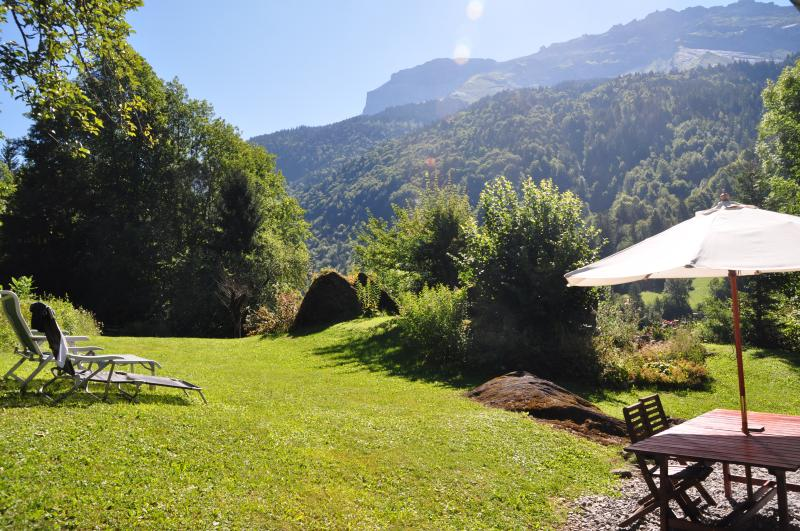 The secluded chalet garden is the perfect place to relax after a mountain activity