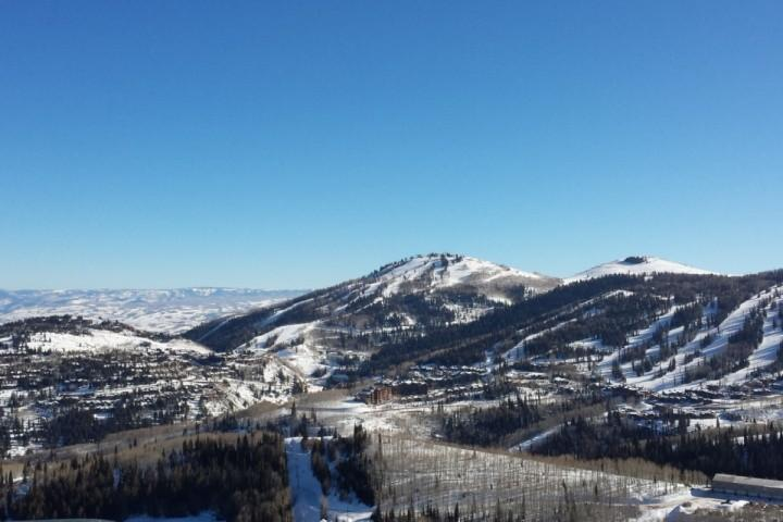 View from the top of Crescent Chairlift at Park City, which looks out to Deer Valley Ski Resort.