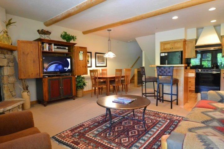 Living area with stone fireplace and mantle, HDTV (cable, DVD) and plush furnishings.
