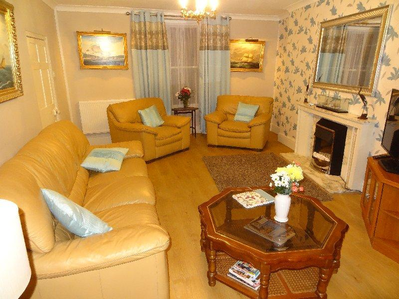 Main Lounge, cosy sitting area with 42' TV and modern Fireplace