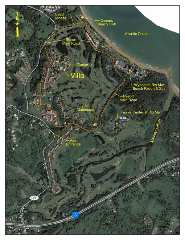 Villa Location Map at the Wyndham Rio Mar Beach Hotel Resort