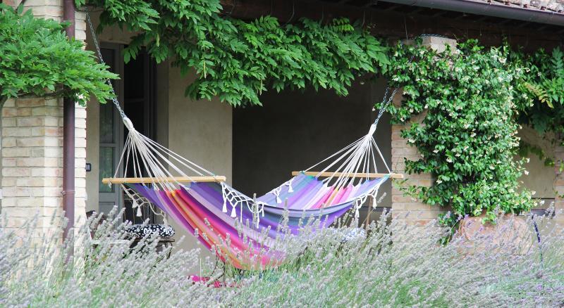 Entspannen Sie im Schatten und der Geruch der Lavendel