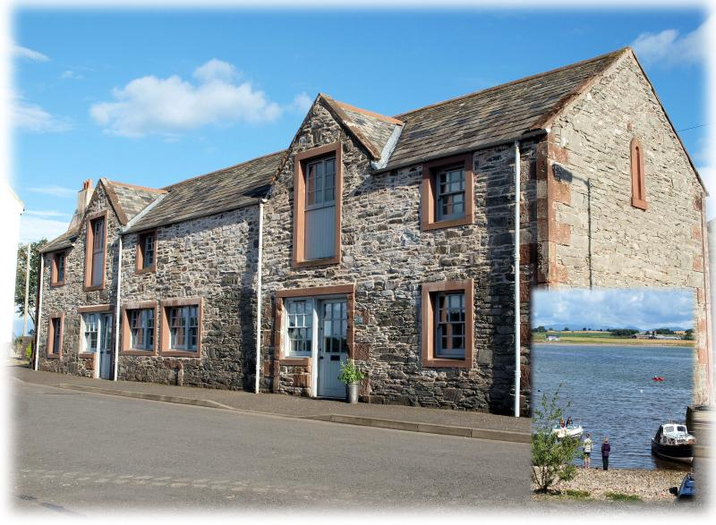 Front of cottage,  restored former harbour building which overlooks the slipway (inset photo).