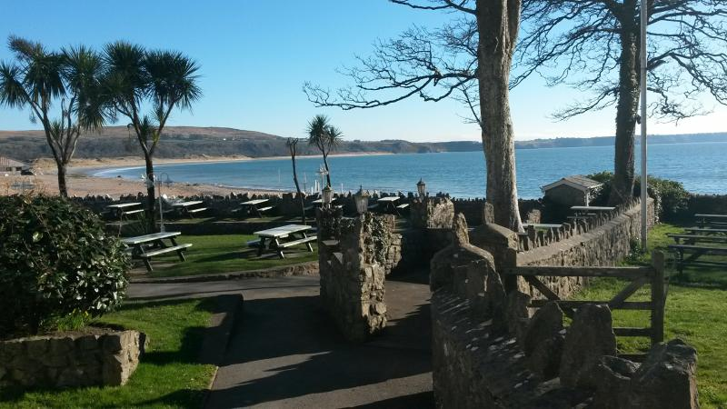 View From Oxwich Bay Hotel and Restaurant Gardens located down the road from Windyridge Cottage