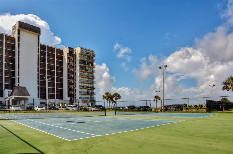 Enjoy a round of tennis within the complex with your companions