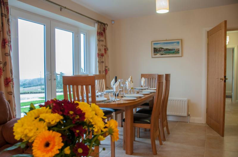 Dining area with spectacular views across the Finn Valley into Donegal