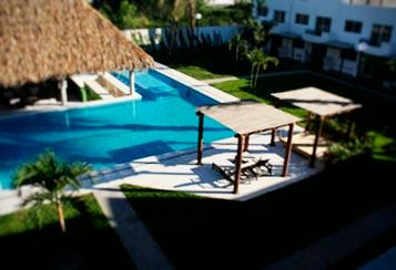 Pool and palapa (aerial view
