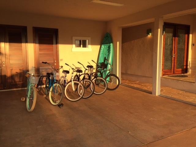 Close up of the garage.  Bikes, kayaks, surfboards, boogie boards and more!