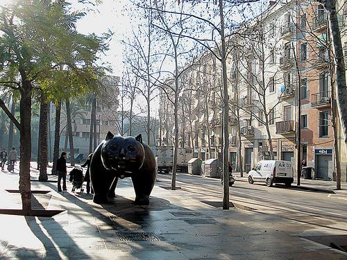 Rambla del Raval with infamous colombian artists Botero sculpture piece of a gigant cat