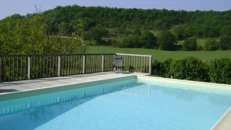 The pool suspended over open countryside
