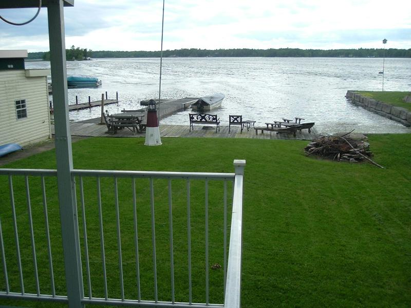 View from grilling area on deck to frontage on Goose Bay