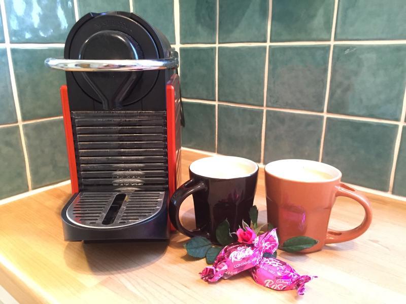 Enjoy freshly brewed Nespresso coffee