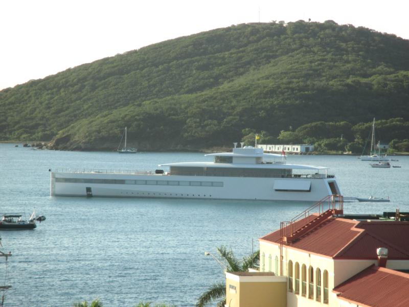 ...designed by Phillipe Stark for the late Steve Jobs, the mega yacht 'Venus' enters the harbor...