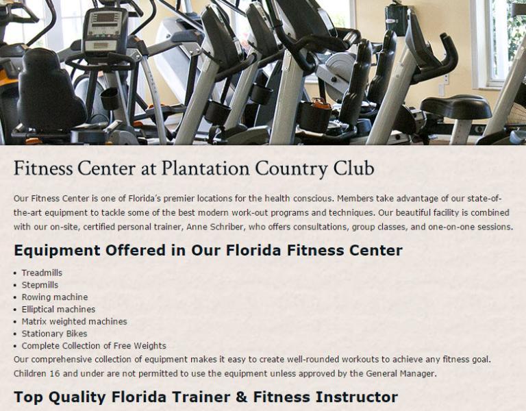 Plantation Golf & CC Fitness Center