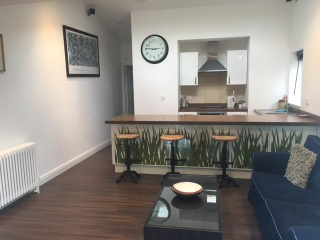1 bedroom garden apartment with large open plan ground floor seating and dining area