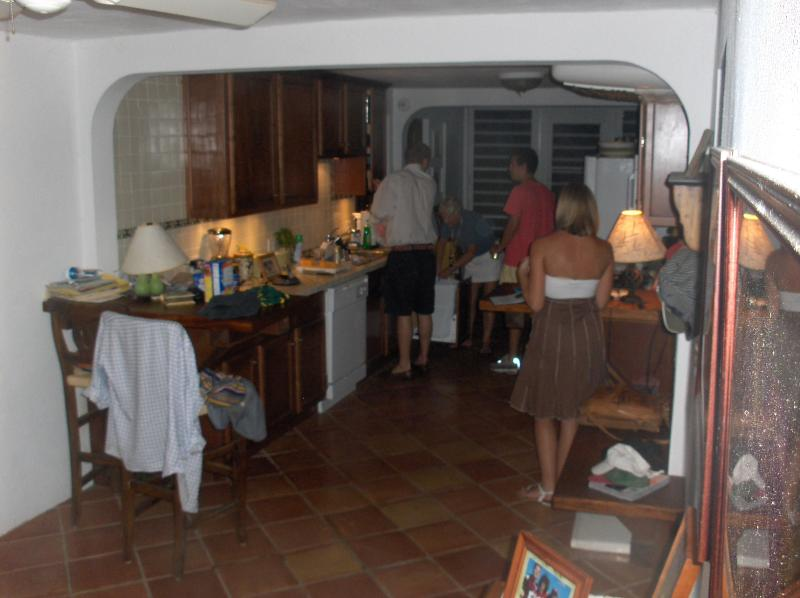The kitchen is open and airy.