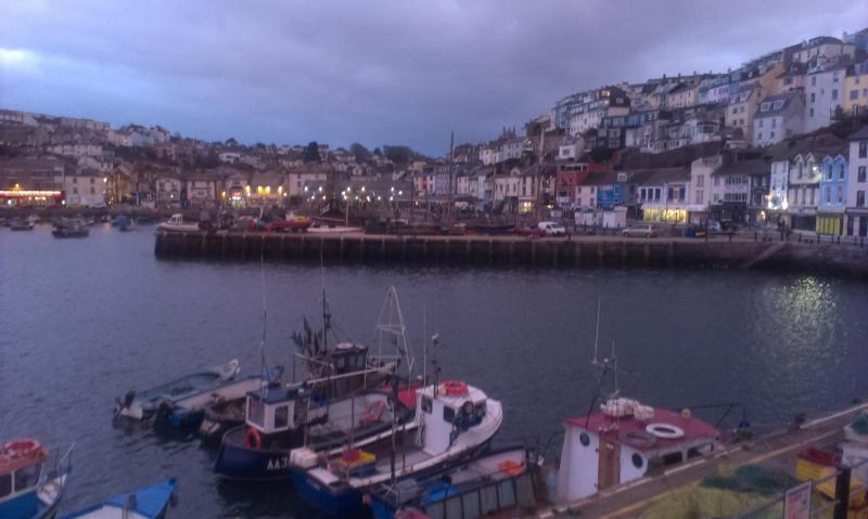 Brixham harbour front in the evening