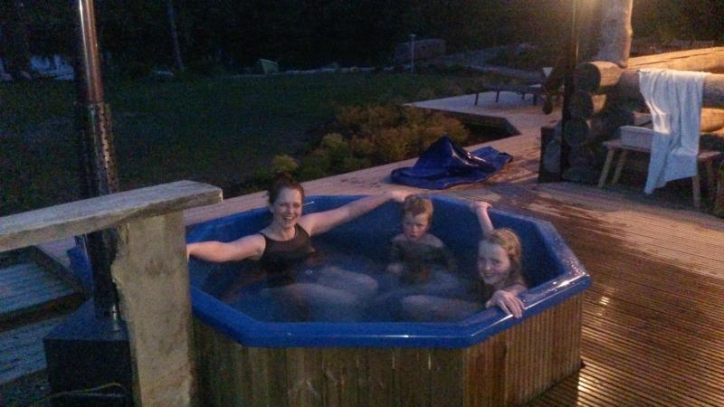 Hot outdoor pool is wood-heated