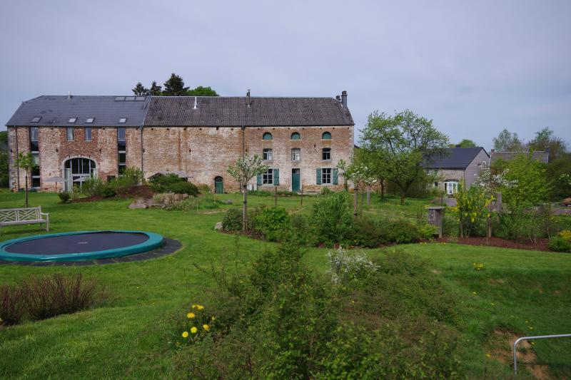 La parte trasera de la finca con enorme jardín para jóvenes y vieja.