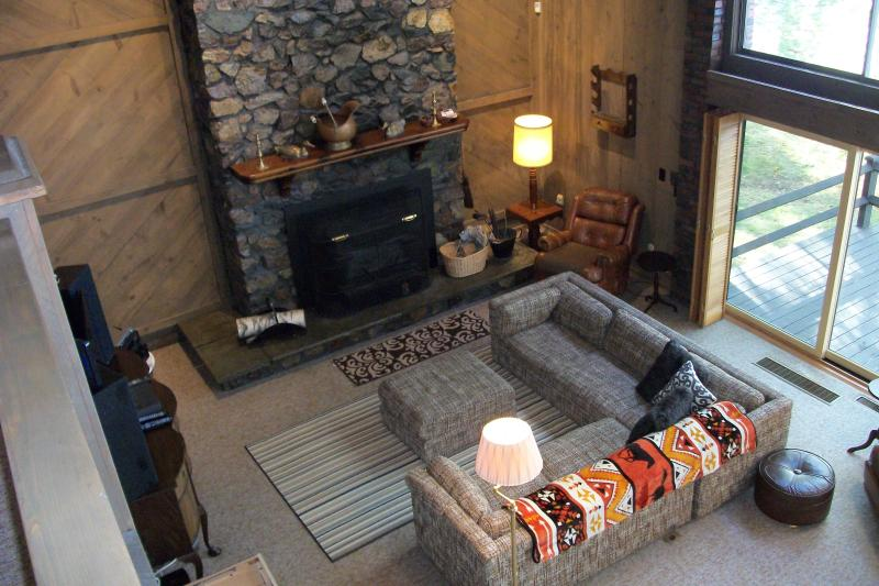 Looking down toward the fireplace with its energy conserving insert that can also show the fire.