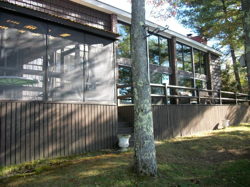 The screened porch and the deck.  Even the reflections are spectacular at Ossipee Lake House.
