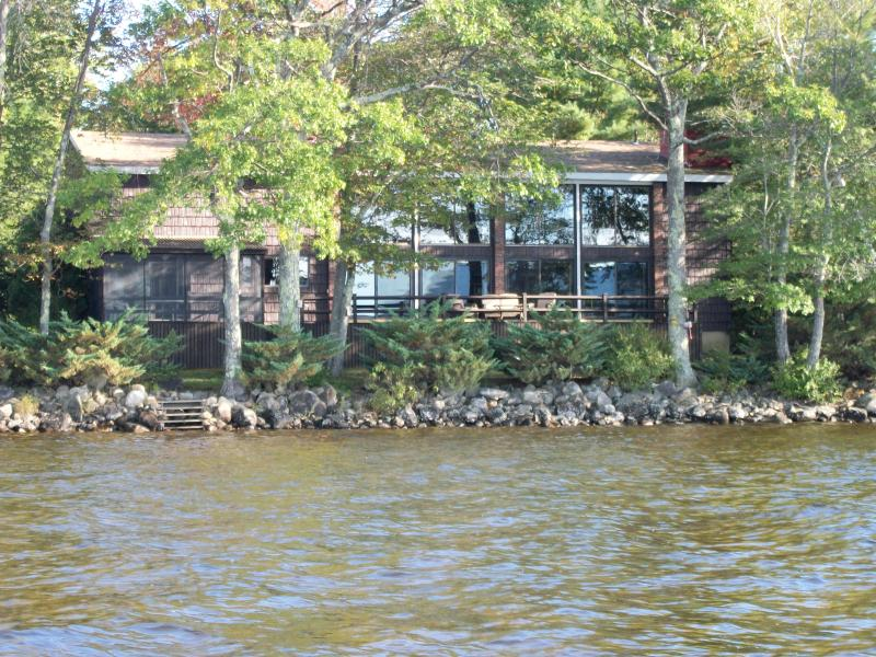 Ossipee Lake House from the water.  The water here was a little over knee deep standing on the sand.